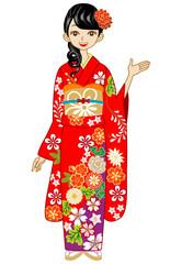 Kimono woman, Guide,Red