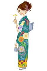 Green Kimono woman,point