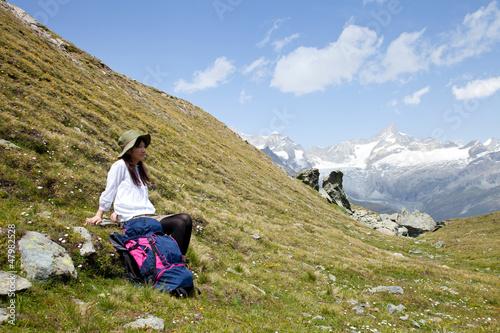スイスアルプスでハイキング