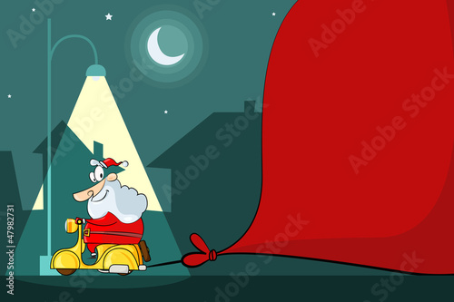 Santa Claus driving Moped