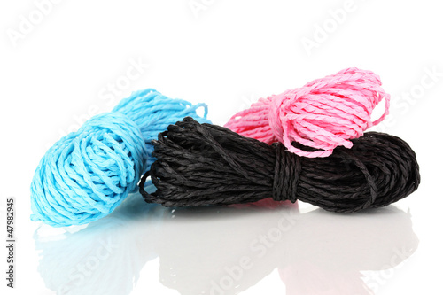 Colored ropes isolated on white background