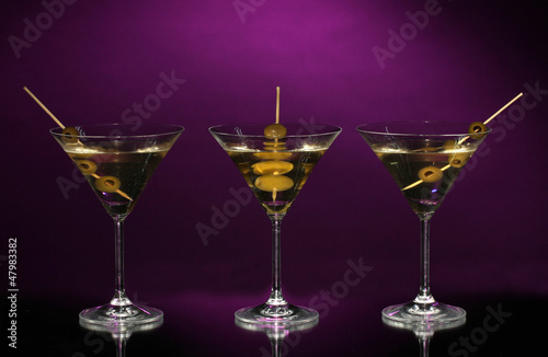 Martini glasses on dark background