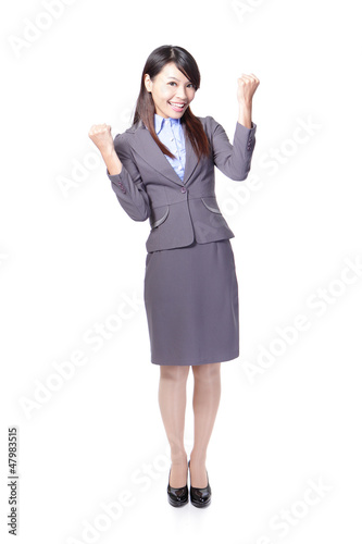 Happy Success winner business woman