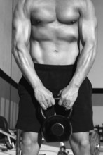 Crossfit Kettlebells Schaukel Übung Mann Training
