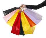 Colorful shopping bags in woman's hand