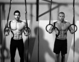 Crossfit dip ring two men workout at gym