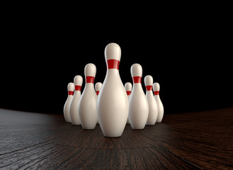 1st (zero) frame of  3D animation of ten-pin bowling strike