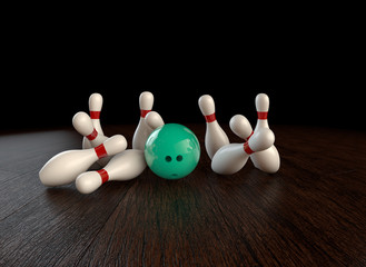 54th frame of  3D animation of ten-pin bowling strike