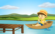 A boy in a boat and a wooden bench