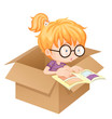 A girl reading book in a box