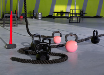 Crossfit Kettlebells ropes and hammer gym wall balls