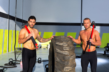 Crossfit sledge hammer men workout