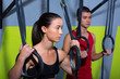 Crossfit dip ring man and woman relaxed after workout