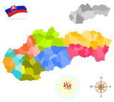 Map of Slovakia, provinces and regions