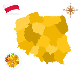 Map of Poland, provinces and regions