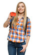 Smiling female with backpack holding empty credit card