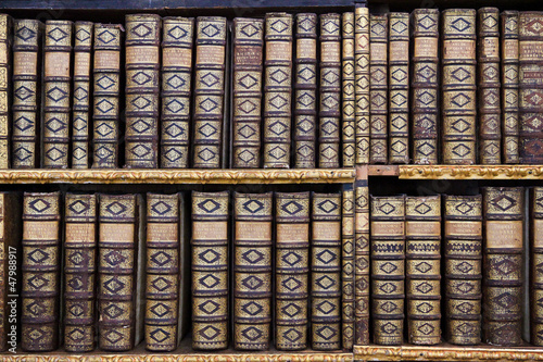 Foto op Canvas Bibliotheek Old books in the Library of Stift Melk, Austria.