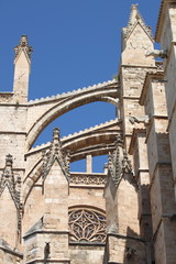 Detail of Palma de Mallorca cathedral. Mallorca island, Spain