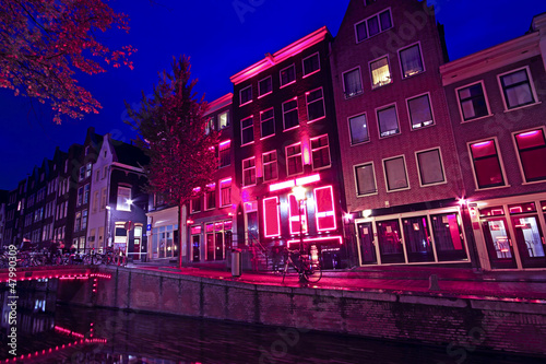 Foto op Canvas Amsterdam Red Light District in Amsterdam the Netherlands