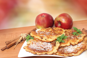 Pancakes with apples and cinnamon