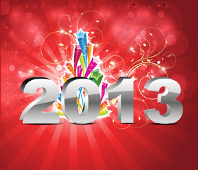 abstract glossy new year background with floral