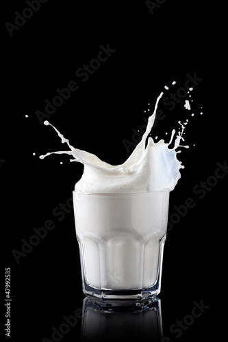 Splash in a glass with milk