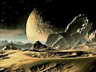 Crashed Alien Spaceship on Distant World