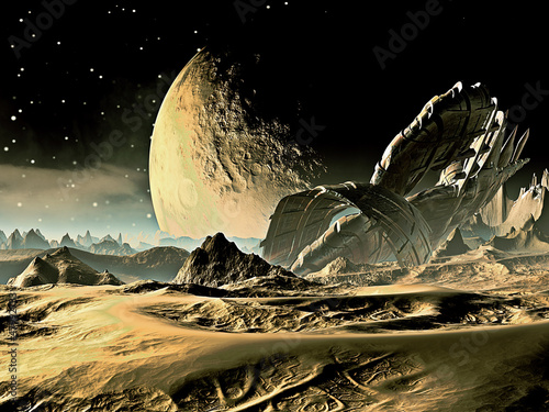 Crashed Alien Spaceship on Distant World © Angela Harburn