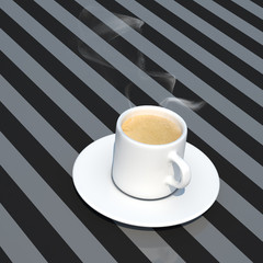 hot espresso close-up 3d illustration