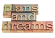plans and dreams in wood type