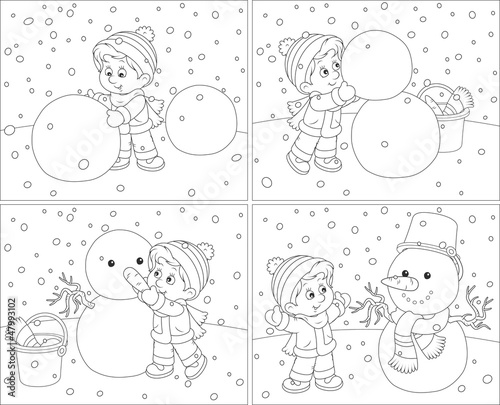 Small boy sculpts a funny snowman
