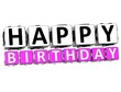 3D Happy Birthday Button Click Here Block Text