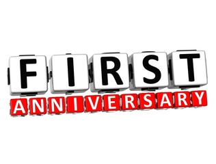 3D First Anniversary Button Click Here Block Text