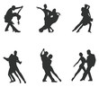 Set of Silhouette Dancing Couple