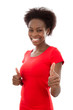 Happy african woman in red