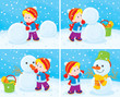 Small child sculpts a snowman