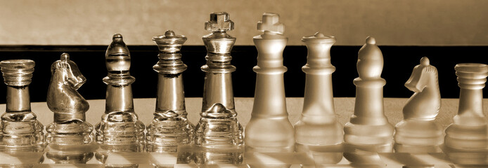 Chess Pieces business concept series: strategy, merger, win.