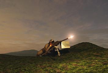Soldado disparando una ametralladora