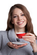 Pretty woman holding a cup of coffee