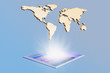 Golden 3D worlmap with tablet