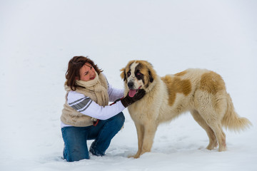 Young girl with her shepherd dog in the winter time