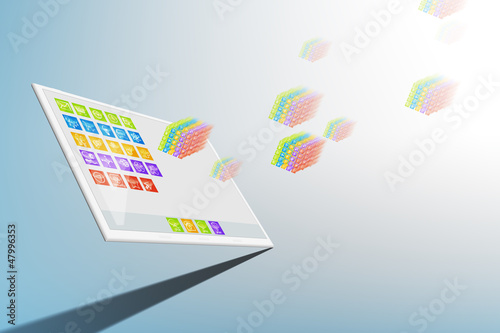3D Tablet mobile internet concept illustration