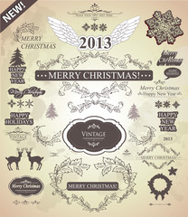 Christmas decoration- Set of calligraphic and vintage labels