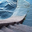 Typically stone steps down to the Neva river in St.Petersburg. W