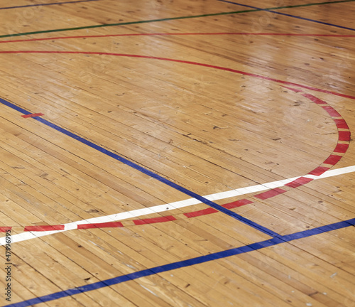 Foto op Canvas Stadion Wooden floor of sports hall with colorful marking lines