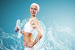 Sport woman and pure water