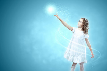 Child with magic light