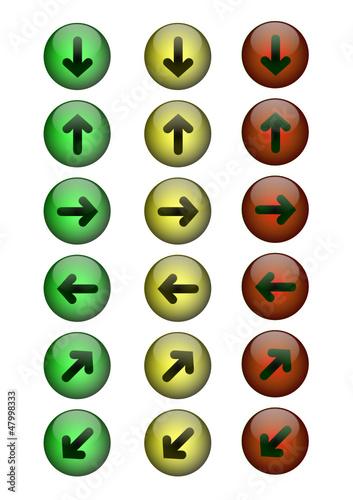 Button grün, gelb, rot