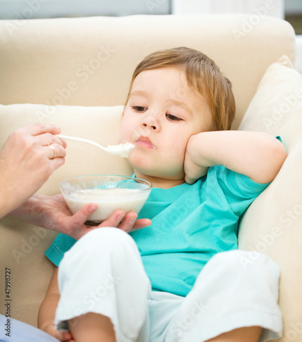Cute little boy is fed using spoon