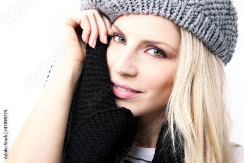 Beautiful blonde girl in winter fashion